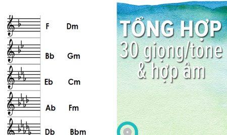 Tổng hợp 30 tone nhạc & vòng hợp âm trong 14 giọng phổ biến